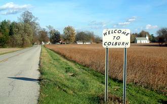 Colburn, Indiana - Looking east toward Colburn along County Road 700 North