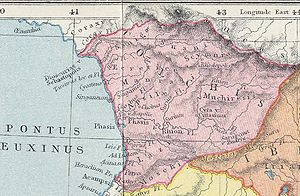 Phasis (town) - A fragment of the 1907 map of the ancient Caucasus showing the Colchis region