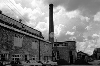 Coldharbour Mill Working Wool Museum - In the distance is the engine house and boiler house. The photo dates from 1980.