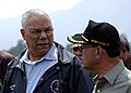 Colin Powell talks to Indonesian Coordinating Minister for People's Welfare, Alwi Shihab, after departing his plane in Banda Aceh, Sumatra, Indonesia.jpg
