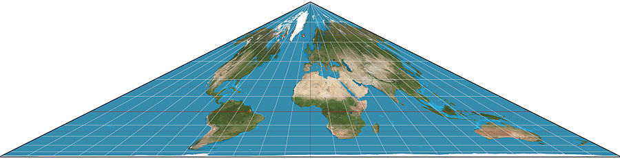 Collignon projection of the world. Collignon projection SW.jpg