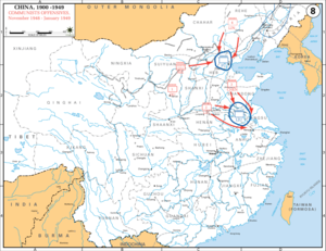 Huaihai Campaign - Communist forces' campaigns during November 1948 up to January 1949, the northern one being the Ping-Jin Campaign, and the southern one being the Huai-Hai Campaign.