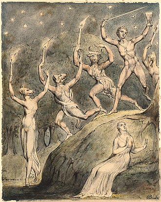 Circe in the arts - William Blake's watercolour of Comus and his animal-headed revellers, 1815