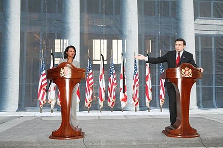 US Secretary of State Condoleezza Rice and President of Georgia Mikheil Saakashvili at a Tbilisi press conference, August 2008 Condoleezza Rice Visit to Georgia, Press Conference with Mikheil Saakashvli.JPG