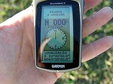 Foto do GPS quando no local de uma confluência