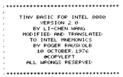 "Monospaced font reads ""Tiny basic for Intel 8080, version 2.0 by Li-Chen Wang, modified and translated to Intel mnemonics by Roger Rausklob, 10 October 1976. @ Copyleft, All Wrongs Reserved."""