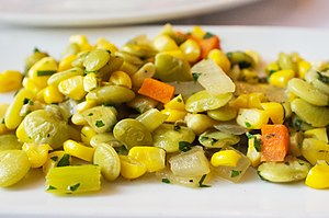 Succotash - Succotash with corn, lima beans, carrots, and other vegetables