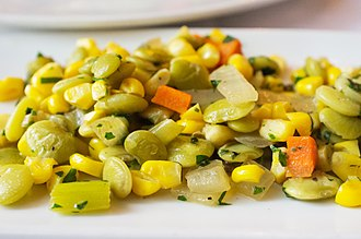 Succotash - Succotash with corn, lima beans, carrots, and other vegetables.