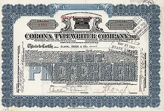 Smith Corona - Share of the Corona Typewriter Company from the 7th October 1919
