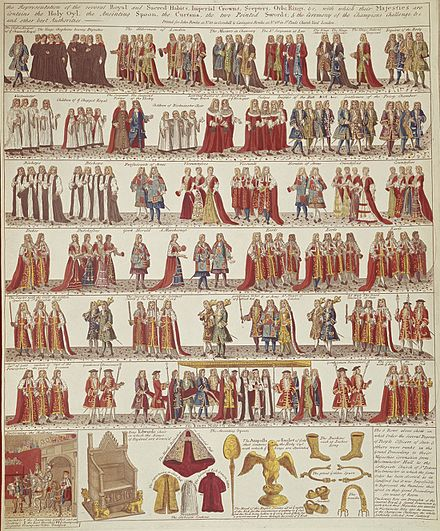 Partial illustration of the State Procession prior to the Coronation of James II and Mary of Modena at Westminster, 23 April 1685 Coronation Procession of James II.jpg