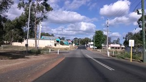 File:Coronation Road, Waroona approaching South Western Highway (E37@WTW2013).ogv