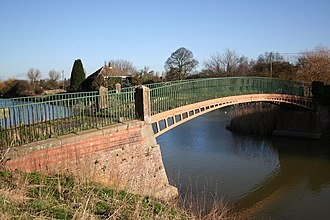 Witham Navigable Drains - The Grade II listed cast iron footbridge near Cowbridge lock, made at Butterley Works in 1811