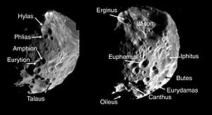 Planetary nomenclature - Examples of crater nomenclature on Phoebe
