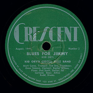 "Jimmie Noone - Kid Ory's Creole Jazz Band recording of Blues for Jimmie (misspelled ""Jimmy"") on Crescent Records (August 1944)"