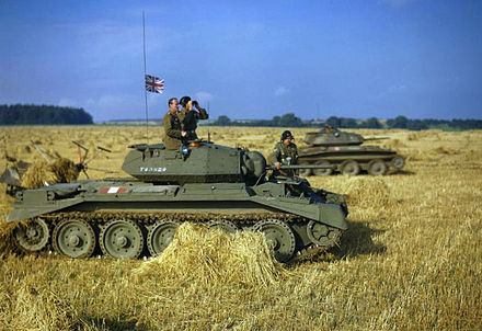 British tanks in a Yorkshire cornfield in 1942.