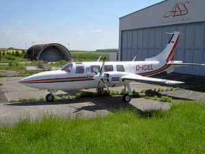 Zweibrücken Airport - A Piper Aerostar general aviation aircraft at Zweibrücken Airport