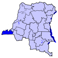 Map of the Dem. Rep. of the Congo highlighting the Province of コンゴ中央州