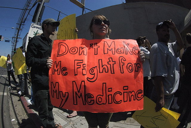 Local citizens protest federal closure of a Hollywood MMJ dispensary.