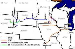 Iowa, Chicago and Eastern Railroad - Image: DME and ICE route map