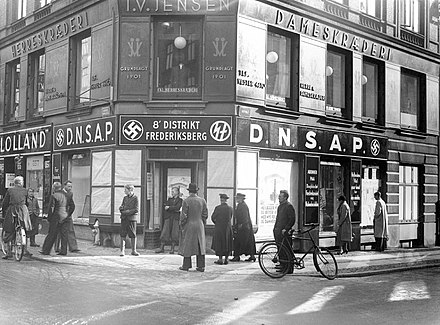 DNSAP's district office on Gammel Kongevej in Copenhagen Between 1940 and 1942 Frederiksberg DNSAP's distriktskontor pa Gammel Kongevej i Kobenhavn.jpg