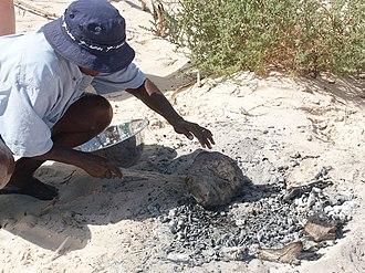 Damper (food) - Damper being cooked over hot coals