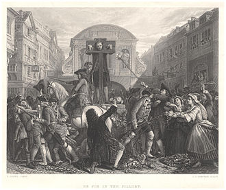 Pillory - Daniel Defoe in the pillory, 1862 line engraving by James Charles Armytage after Eyre Crowe
