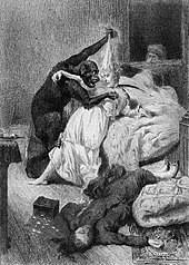 Illustration of an orangutan attacking a woman from The Murders in the Rue Morgue by Daniel Vierge
