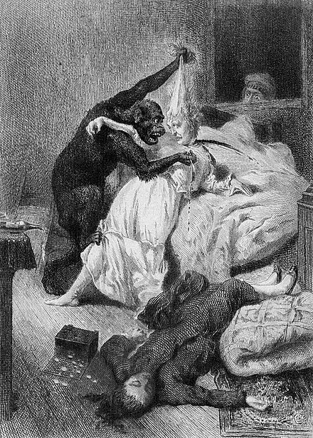 "Illustration by Daniel Vierge of ""The Murders in the Rue Morgue"", 1870 Daniel Urrabieta y Vierge - The Murders in the Rue Morgue.jpg"