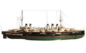 Danton-class battleship - Arsenal model of Danton, on display at the Musée national de la Marine in Paris.
