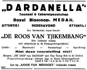 Boenga Roos dari Tjikembang (novel) - An advertisement for a performance of Boenga Roos dari Tjikembang in Medan by Dardanella, 1930