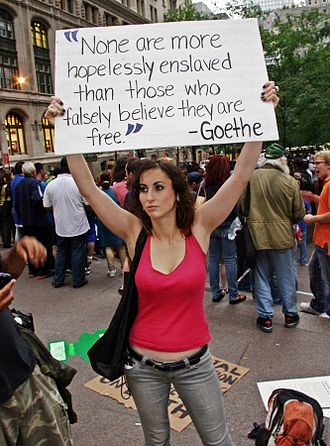 Timeline of Occupy Wall Street - Protester on September 28, 2011