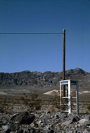 A desert telephone box between Junction and Furnace Creek near the crossroad for Dante's View