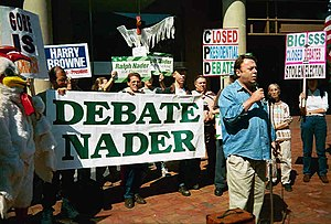 Ralph Nader - Nader's supporters, with Christopher Hitchens speaking, protest his exclusion from the televised debates in 2000