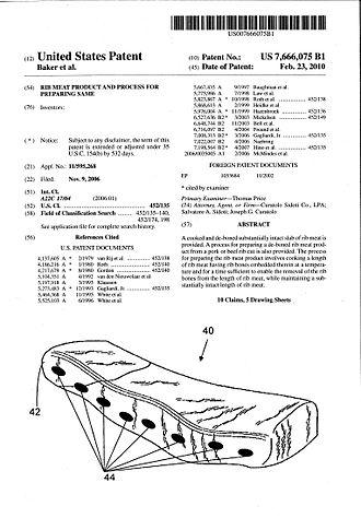 Al Baker - Bubba's Boneless Ribs patent