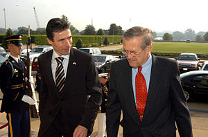 Anders Fogh Rasmussen - Secretary of Defense Donald H. Rumsfeld escorts Rasmussen into the Pentagon on May 8, 2003.