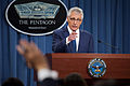 Defense Secretary Chuck Hagel takes questions from reporters during a news conference at the Pentagon, Jan. 22, 2015 150122-D-IX214-006a.jpg