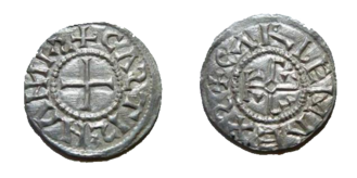 Carloman II - A denarius minted in the name of Carloman II