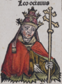 Depiction of Leo VIII from the Nuremberg Chronicle. Published in 1493.png