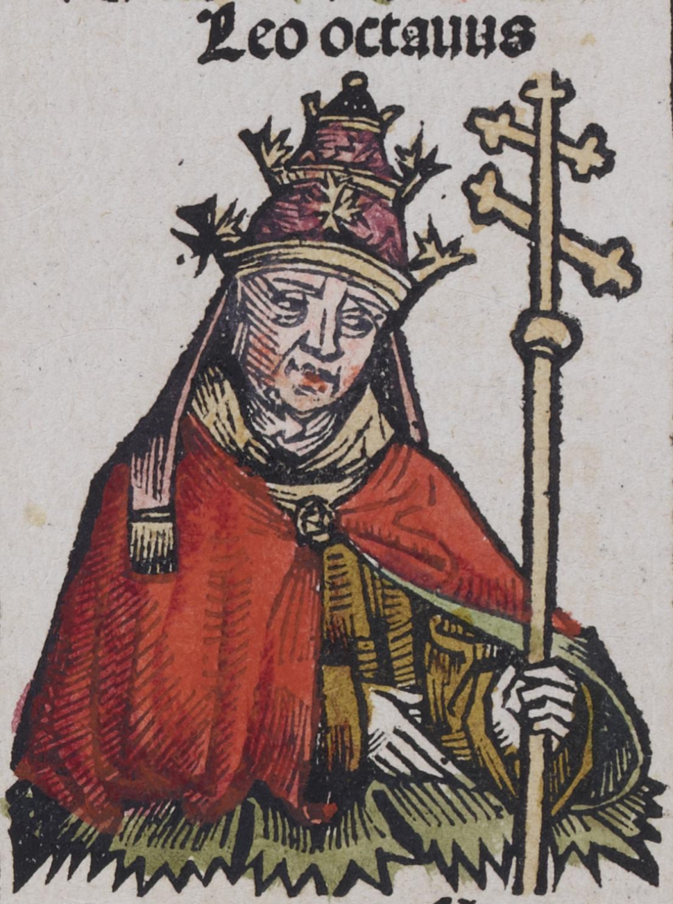 Depiction of Leo VIII from the Nuremberg Chronicle. Published in 1493
