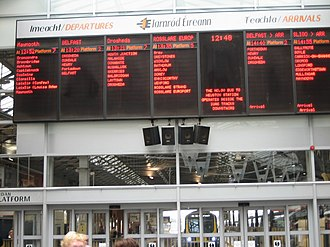 Dublin Connolly railway station - Arrivals/Departures board in 2006