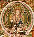 Detail, Bodhisattva Kshitigarbha and The Ten Kings of Hell. X century, Dunhuang, Musee Guimet, Paris (cropped).jpg