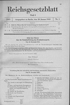 Scan aus dem Deutschen Reichsgesetzblatt 1943, Teil I
