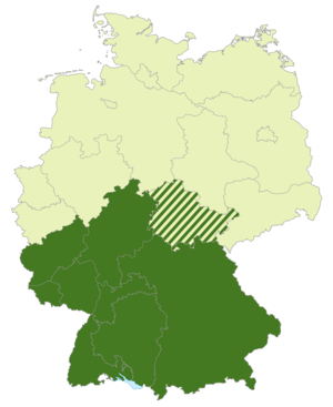 Regionalliga Süd (1994–2012) - Map of Germany:Position of the Regionalliga Süd (2000–2008) highlighted