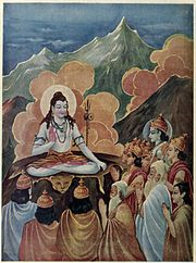 Devas praying Shankara to Destroy Tripura or The three cities