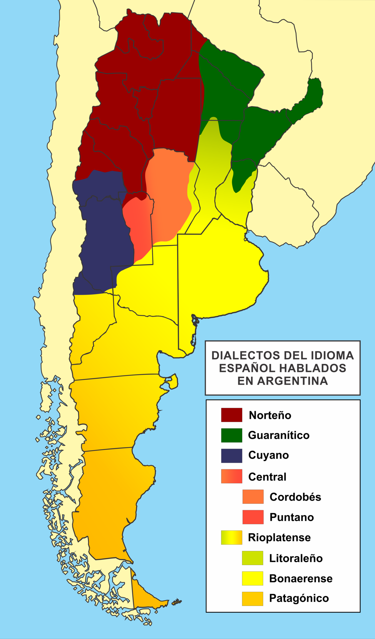 Languages Of Argentina Wikipedia - World map in welsh language