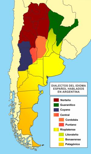 Cordobés Spanish - Image: Dialectos del idioma español en Argentina