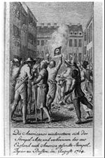 The Americans oppose the Stamp Act, and burn the stamp paper sent from England to America at Boston, August 1764.jpg