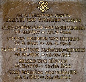 "Karl Freiherr von Thüngen - a plaque commemorates the five ""Bamberg Troopers"""
