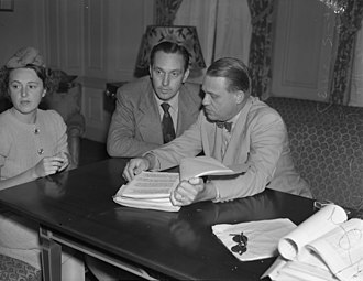 Martin Dies Jr. - Actor Fredric March, his wife Florence and Martin Dies at House Un-American Activities Committee hearings in Los Angeles, 1940
