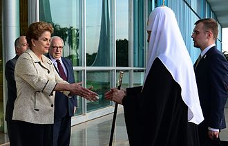 Patriarch Kirill of Moscow - Kirill is greeted by Brazilian President Dilma Rousseff as he arrives at the Alvorada Palace in Brasilia, Brazil, 19 February 2016